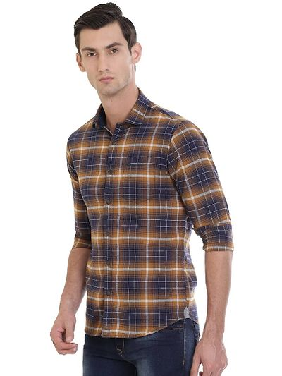 Brown Cotton Checked Slim Fit Casual Shirt