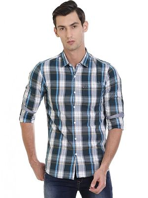 Blue Cotton Checked Slim Fit Casual Shirt