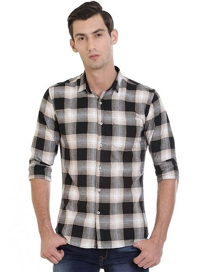 Black Cotton Checked Slim Fit Casual Shirt