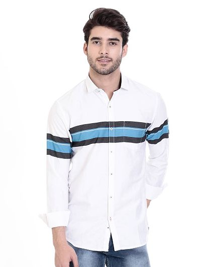 White Cotton Printed Slim Fit Casual Shirt