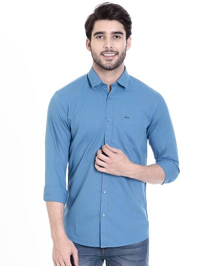 Blue Cotton Solid Slim Fit Casual Shirt