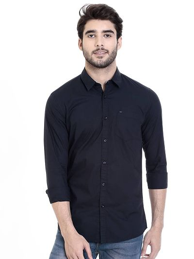 Navy Blue Cotton Solid Slim Fit Casual Shirt
