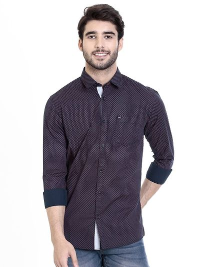 Navy Blue Cotton Printed Slim Fit Casual Shirt