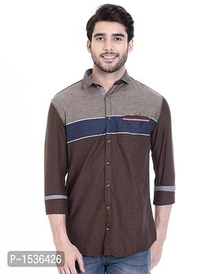 Brown Cotton Solid Slim Fit Casual Shirt