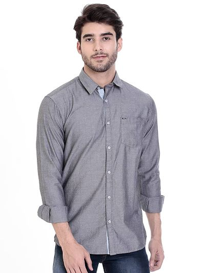 Grey Cotton Printed Slim Fit Casual Shirt