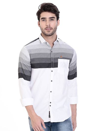 White Cotton Striped Slim Fit Casual Shirt