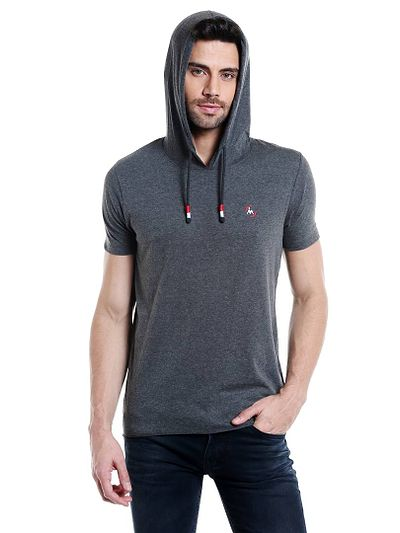 Grey Solid Cotton Hooded Tees
