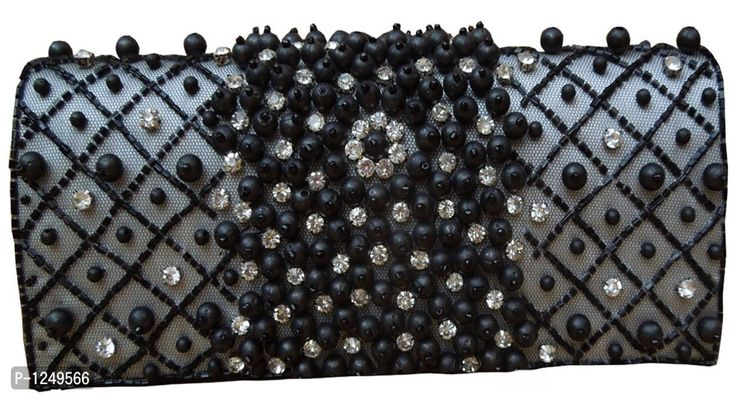 Black Pearl Embroidered Clutch