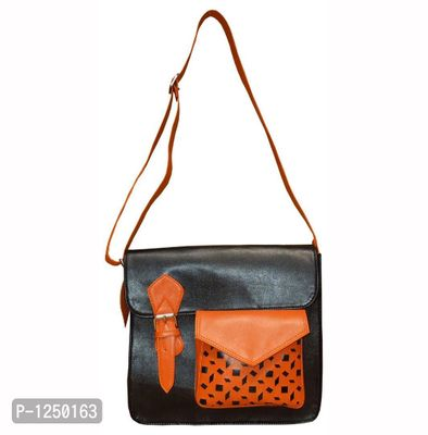 Unisex Black Leatherite Cross Body Handbag