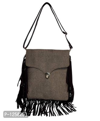 Grey Unisex Denim Cross Body Handbag