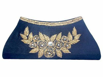 Women's Black Gota Embroidered Clutch for Womens