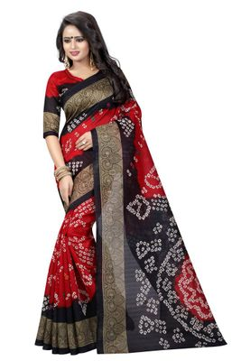 Red Printed Cotton Bandhani Saree