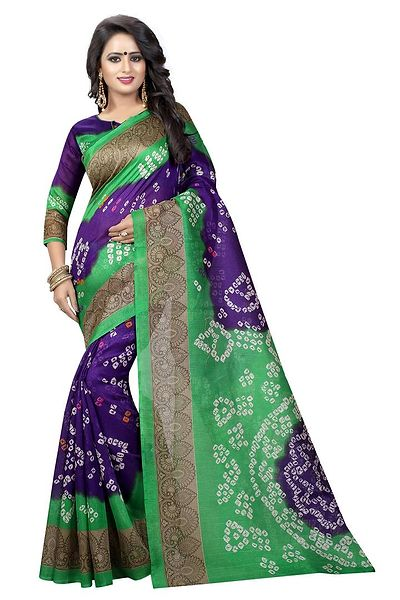 Purple Printed Cotton Bandhani Saree