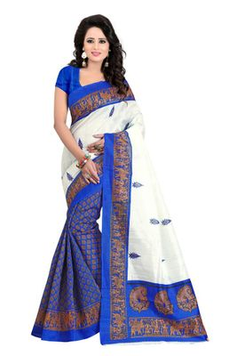 Blue Printed Cotton Bhagalpuri Saree