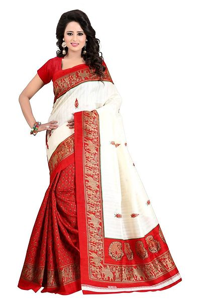 Red Printed Cotton Bhagalpuri Saree