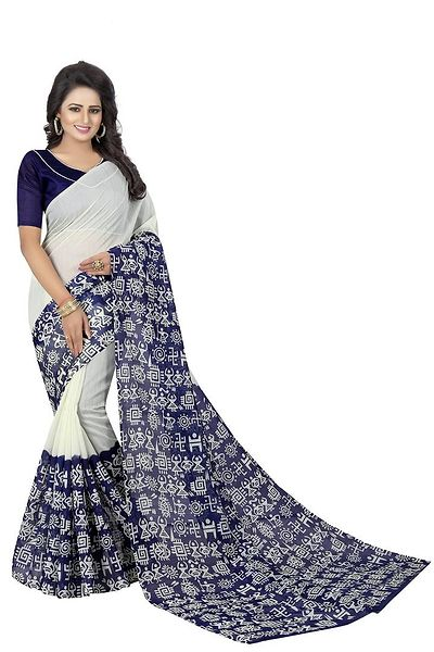 White Printed Cotton Bhagalpuri Saree