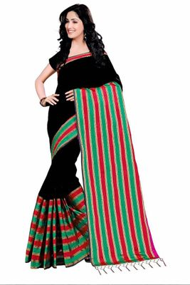 Black Woven Design Cotton Silk Saree