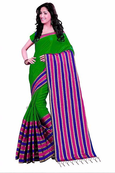 Green Woven Design Cotton Silk Saree