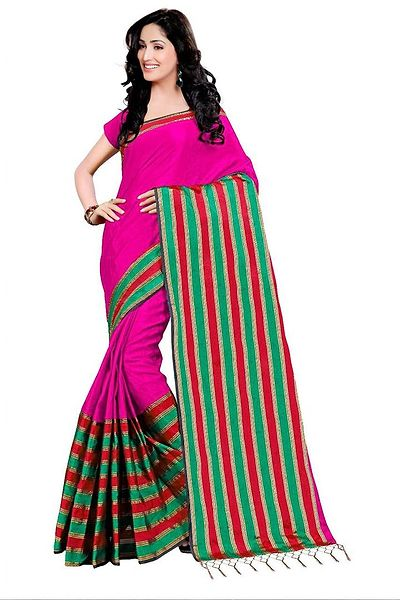 Pink Woven Design Cotton Silk Saree
