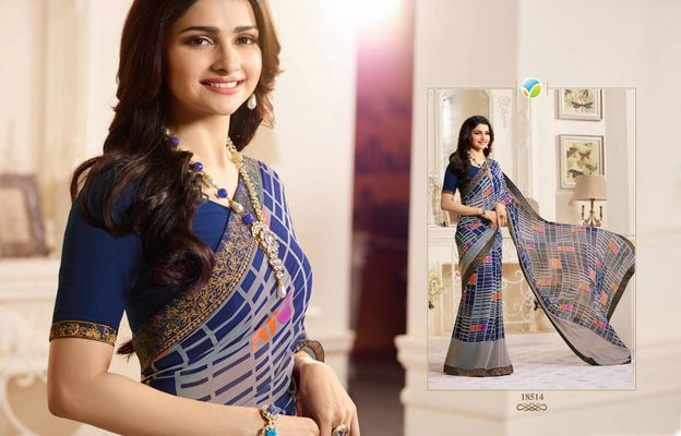 Multi Colour Major Georgette Printed Saree With Blouse