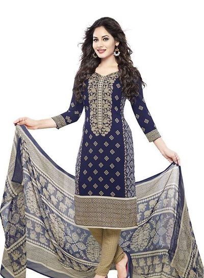 Blue French Crepe Unstitched Salwar Suit Dress Material