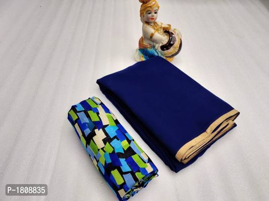 Blue Solid Georgette With Weving Border Saree