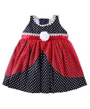 Mom's Girl Black dotted Frock With Red Net