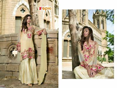 *Rosemeen Arise* Top - Faux Georgette with heavy embroidery  Bottom - Santoon Dupatta - Santoon Unstitched material