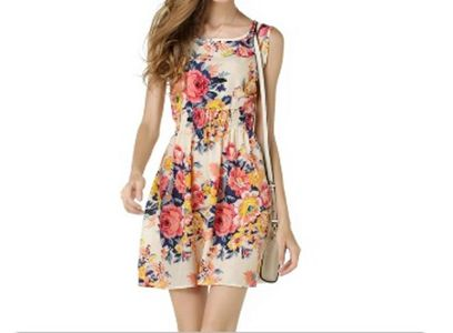 One piece dress-printed polyster