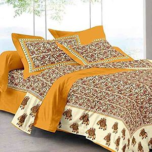 Jaipuri cotton  printed  double bed sheet with 2 pillow cover