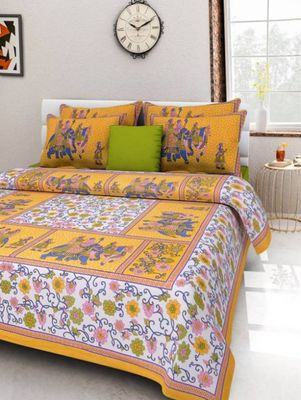 Jaipuri cotton animal print printed  double bed sheet with 2 pillow cover