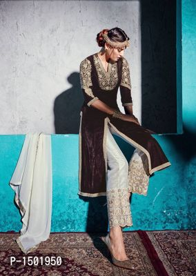 Brown Embroidered Velvet Semi-Stitched Salwar Suits