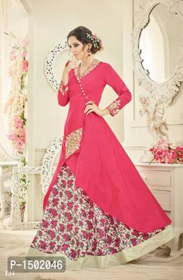 Pink Embroidered Crepe Semi-Stitched Salwar Suits