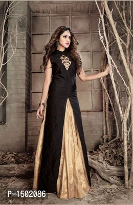 Black Embroidered Crepe Semi-Stitched Salwar Suits