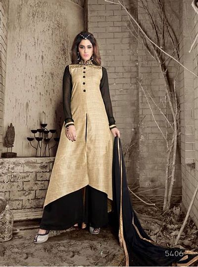 Beige Embroidered Crepe Semi-Stitched Salwar Suits