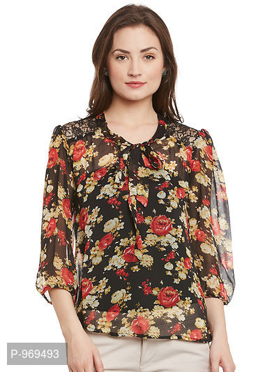 Chiffon Black and Multi Color Floral Printed Top