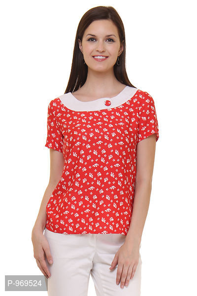 Crepe Red Color Animal Printed Top