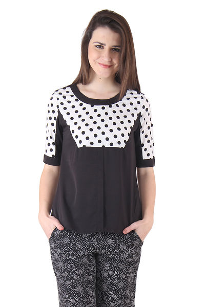 Women Black and White Dot Printed Top