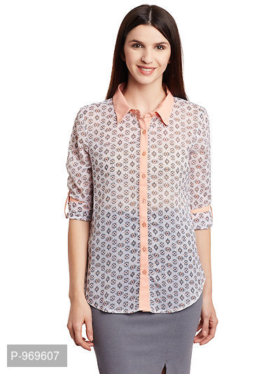 Chiffon Off White and Peach Color Printed Shirt in Chiffon