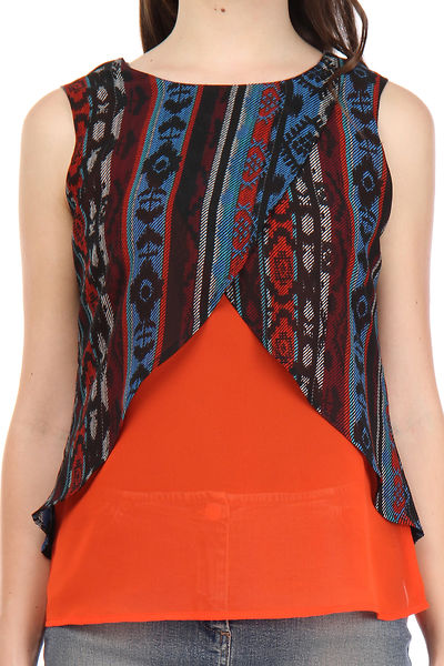 Georgette Multi and Orange Color Printed Sleeveless Top