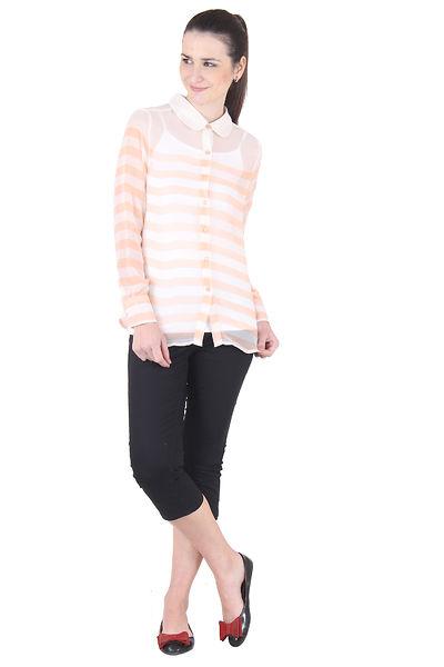 Georgette Off White Orange Stripe Printed Shirt