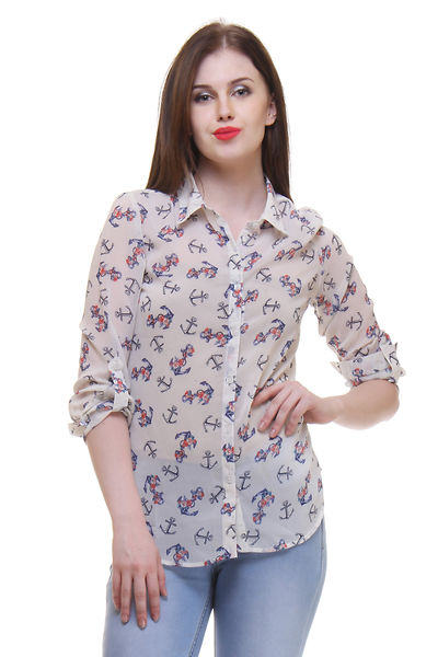 White Color Anchor Printed Shirt For Women
