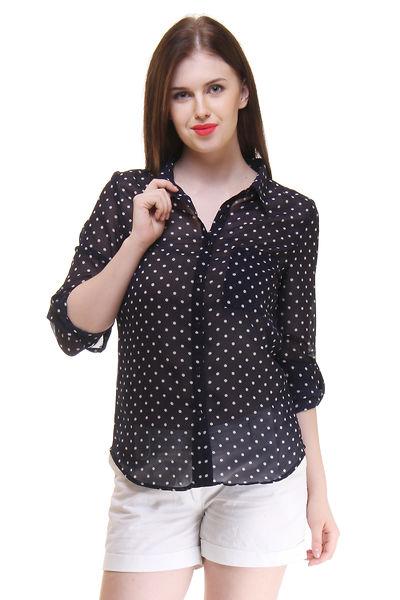 Navy Blue White Dot Printed Shirt For Women