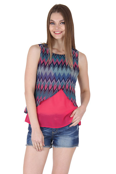 Multi and Pink Color Waist Length Sleeveless Top For Women