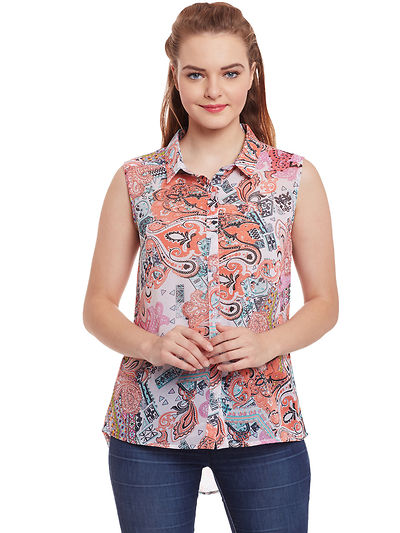 Georgette off White and Multicoloured High Low Printed Shirt