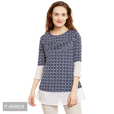 Crepe Navy And White Color Geomatric Printed Top