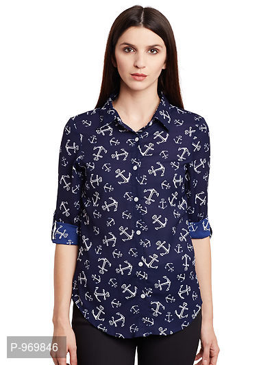 Georgette Navy and White Anchor Printed Shirt