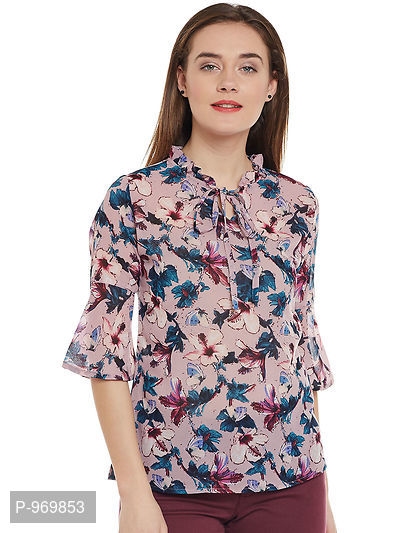 Peach and Multi Color Floral Printed Georgette Top
