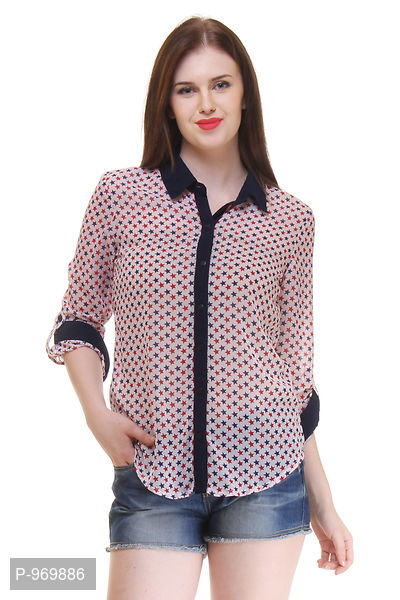 Georgette Off White Color Star Printed Shirt