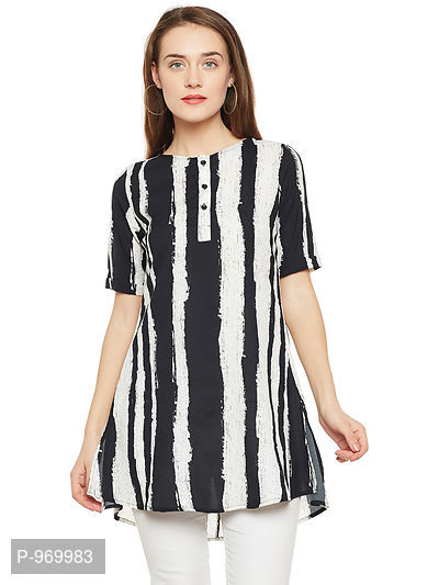 White and Black Color Printed Tunic in Crepe
